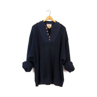 Slouchy Knit Henley Sweater Button Up Navy Blue Boyfriend Pullover Oversized Chunky 90s Ribbed Knit Sweater Vintage Men's size XL