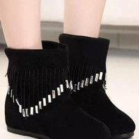New Women Black Round Toe Flat Tassel Casual Ankle Boots