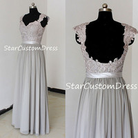 Grey Long Lace Bridesmaid Dress Chiffon Dress With cap sleeves and open back