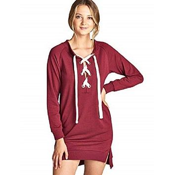 Womens Top Lace Up Long Sleeve Sweatshirt French Terry Burgundy Small