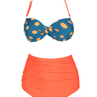 Orange and Blue Polka Dot Twisted Bandeau Top and High-Waisted Bottom Swimsuit