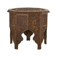 Anglo-Indian Hand-carved Table in Mango Wood with Walnut Finish