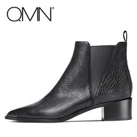 QMN genuine leather women ankle boots for Women Chelsea Boots Pointed Toe Runway Shoes Woman Bootie Botas Femininas 34-39