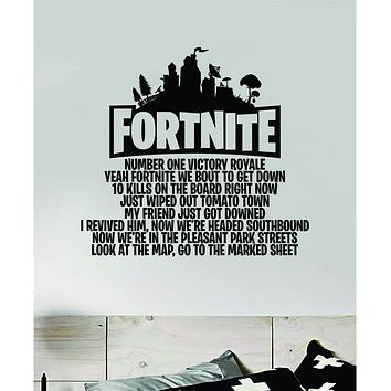 Fortnite Song Wall Decal Quote Home Room Decor Art Bedroom Vinyl Sticker Funny Gamer Gaming Nerd Geek Teen Video Game Kids Baby Number One Victory Royale