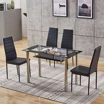 4HOMART Dining Table with Chairs, 7 PCS Glass Table Set