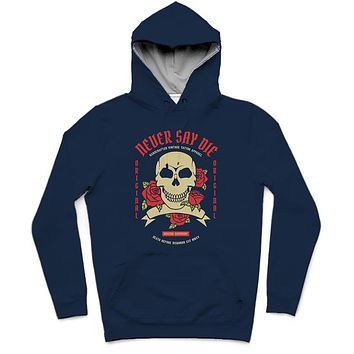 Never Say Die Trendy All-Over Print Solid Blue Whale Hoodie