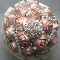 Personalized handmade special discount offer gorgeous bouquet with pearl and rhinestone  wedding bouquet 009