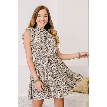 Here To Stay Smocked Neck Mini Dress