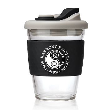 Click image to open expanded view Reusable Glass Coffee - Tea Mug 12 Oz Travel Cup with Spill Proof Lid and Non-Slip Sleeve Dishwasher and Microwave Safe Portable Durable Drinking Tumbler Enjoy Hot or Cold Beverages