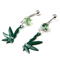316l Surgical Steel 14g Green Gem Pot Marijuana Leaf Weed Pair Navel Ring Belly Button Bar