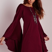 Missguided - Flared Sleeve Swing Dress Burgundy