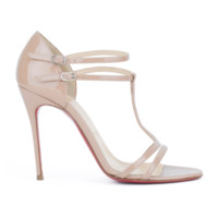 CHRISTIAN LOUBOUTIN Arnold 100 nude patent leather T-strap sandals heels EU37.5