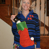 Wine holder stocking, Ugly Christmas sweater, Women Large, new years eve, beer, alcohol, party pocket, jumper, one of a kind, stripes