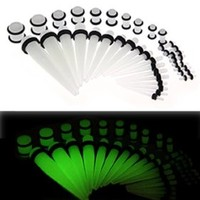 BodyJ4You® 36 Pieces Gauges Kit Clear Glow in The Dark Tapers with Glow Plugs 14G-00G Stretching Kit - 18 Pairs