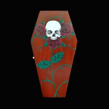Skull And Roses Coffin Ring Box In Blood Red, And Black Satin Lining, Halloween, Gothic