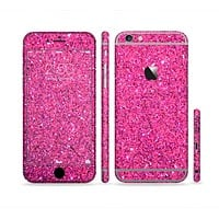 The Pink Sparkly Glitter Ultra Metallic Sectioned Skin Series for the Apple iPhone 6
