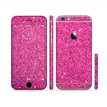 The Pink Sparkly Glitter Ultra Metallic Sectioned Skin Series for the Apple iPhone 6 Plus