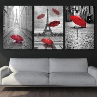 wall Art picture poster canvas Painting decor for home Black and White Eiffel Tower with Red umbrella on Paris Street Picture