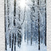 Winter Snow Scene Wall Hanging Tapestry