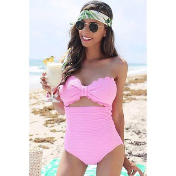Pink Scallop Bandeau One-piece Swimsuit