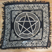 """Pentacle Altar Cloth 18"""" Tarot Gold and Black Pagan Wicca Witch NEW IN PACKAGE"""