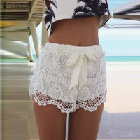 New Zanzea 2015 Summer Casual Fashion Women Girl Lace Print Hem Crochet Chiffon Belt Shorts Plus Size S-XXL Hot Sale