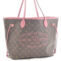 Auth Louis Vuitton Monogram Ikat Flower Neverfull MM Tote Bag Pink M40939 41471