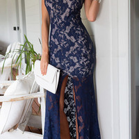 Blue Halter Lace Overlay Backless Maxi Dress