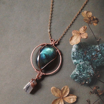 Neva • labradorite necklace - hammered copper necklace - copper crystal necklace - witch jewelry - made in finland - viking jewelry