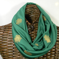 Notre Dame Inspired Infinity Scarf, Green, Hand Painted Gold Shamrocks Circle Scarf,  (itm156)