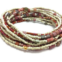 Seed bead wrap stretch bracelets, stacking, beaded, boho anklet, bohemian, stretchy stackable multi strand white ivory red orange brown cube
