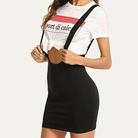 Solid Bodycon Overall Mini Skirt