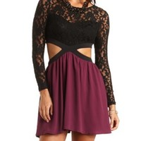 Color Block Cut-Out Skater Dress by Charlotte Russe - Purple