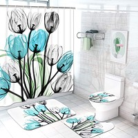 Claswcalor 4 Pcs Tulip Flowers Shower Curtain Sets with Non-Slip Rugs, Toilet Lid Cover and Bath Mat, Colorful Tulip Flowers Curtain with 12 Hooks, Multi Medium