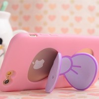 iPhone 5 Case,E-Age Personality Cute TPU Case Skin Cover With Bowknot Kickstand Compatible with iPhone 5/5S (Pink)