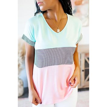 Lined In Pastels Block Top (Mint/Pink)