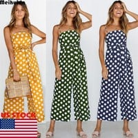 Women's Dot Clubwear Summer Bodycon Party Jumpsuit Romper Women Halter Dots Print Sleeveless Jumpsuits Cloting