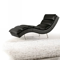 1185 - Modern Black Eco-Leather Chaise