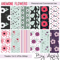 Anemone Flowers Digital Paper Scrapbook Paper Background Pack Set of 12 300dpi 12x12 JPGs Seamless Tileable Commercial Use Royalty Free