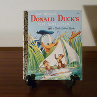 "Vintage 1977 Walt Disney's Children's Book ""Donald Duck's Toy Sailboat"" - A little Golden Book / Kids Book / Retro Kids Book / Chip n Dale"