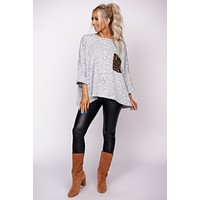 Come Back Around Leopard Print Top (Heather Grey)