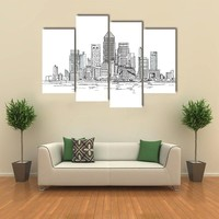 Canary Wharf Business Area In London Multi Panel Canvas Wall Art