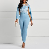 Women Sky Blue Spring Summer Cape Sleeve Romper Floral See Through Lace Patchwork Backless Office Woman Long Harem Pants Jumpsuit