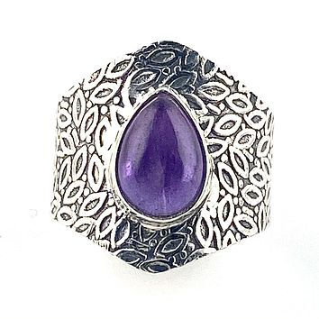 Amethyst Sterling Silver Vine Pattern Band Pear Ring