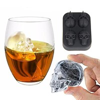 3D Skull Ice Cube Mold Tray Silicone Cake Jelly Chocolate Mold Party Kitchen Baking Tools FREE SHIPPING