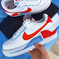 NIKE Air Force 1 Shadow Fashion Women Men Leisure Sport Running Shoes Sneakers White&Red&Blue