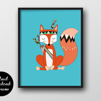 75% OFF Tribal Fox Nursery Print, INSTANT DOWNLOAD, Woodland Nursery Wall Decor, Animal Printable, Fox Poster Children's Room Wall Art