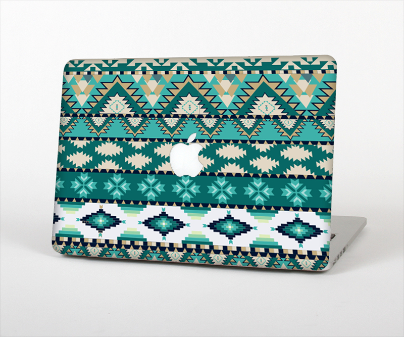 """Image of The Vector Teal & Green Aztec Pattern  Skin Set for the Apple MacBook Pro 13"""" with Retina Display"""