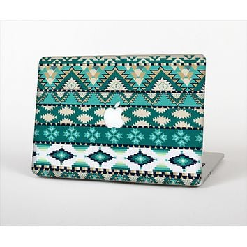 "The Vector Teal & Green Aztec Pattern  Skin Set for the Apple MacBook Pro 13"" with Retina Display"