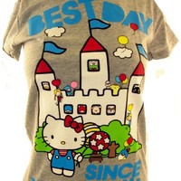 """Hello Kitty Girls T-Shirt - """"Best Day Since Yesterday"""" Castle Party on Gray"""